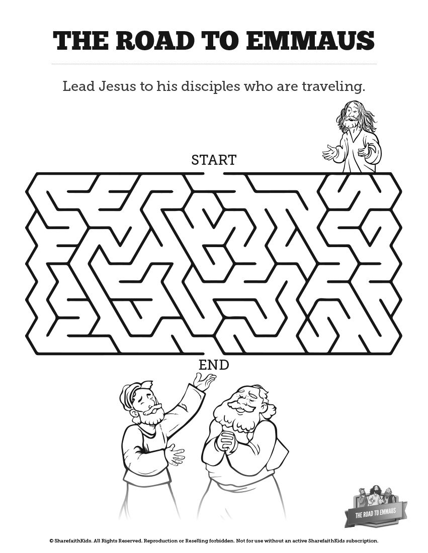Luke 24 Road To Emmaus Bible Mazes The Road To Emmaus Was An