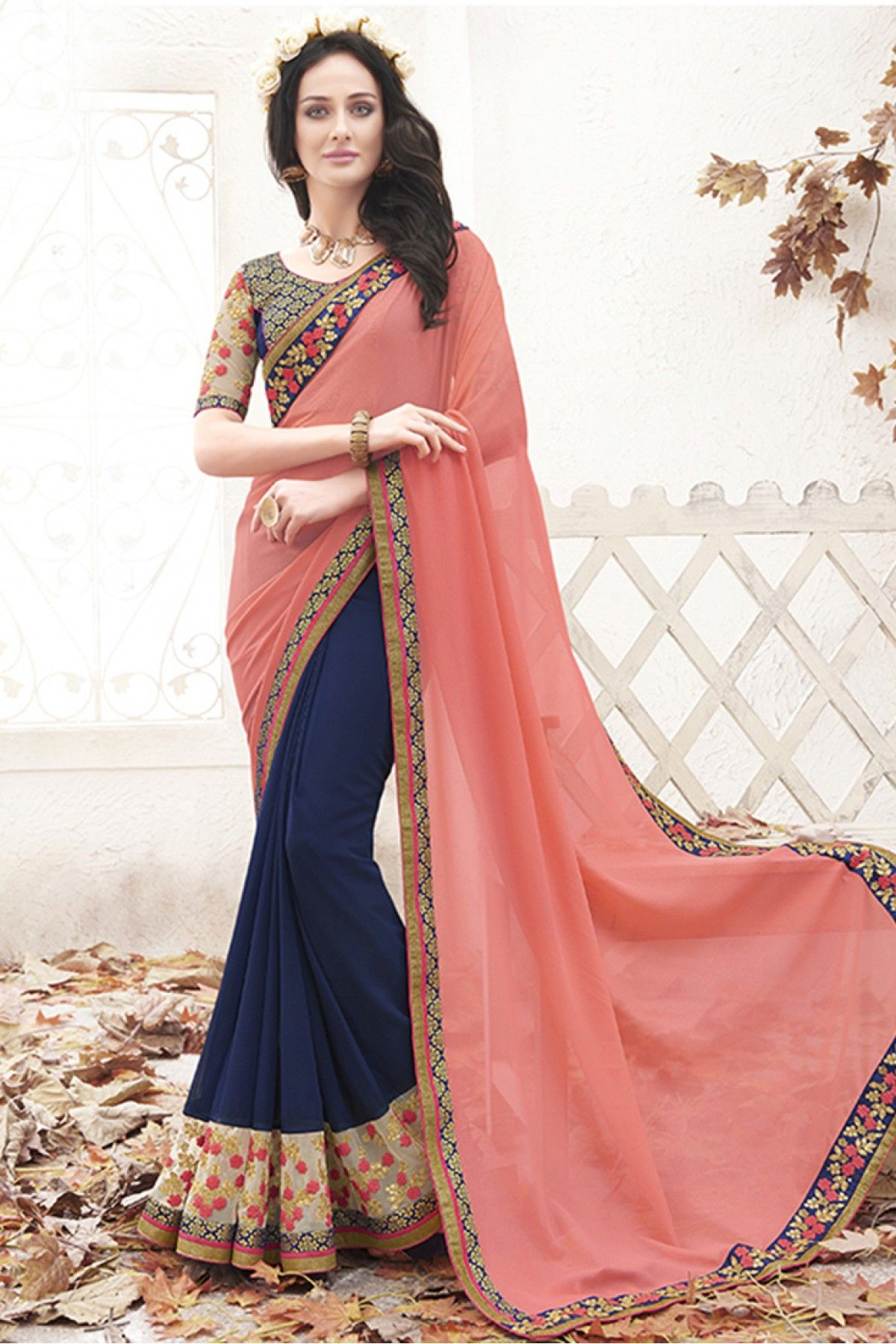 fceab9220db Peach Colour Georgette Fabric Party Wear Designer Saree Comes With Matching  Blouse. This Saree Is Crafted With Lace Work. This Saree Comes With  Unstitched ...
