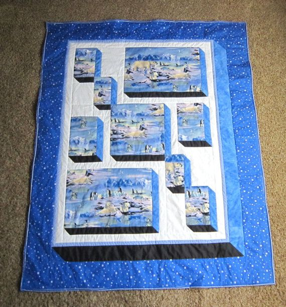 Blue Arctic Friends Penguin Quilt Hand Made For By