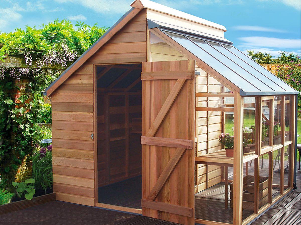 Aménager Un Abri De Jardin destiné combin� serre et abris de jardin | abri de jardin | pinterest