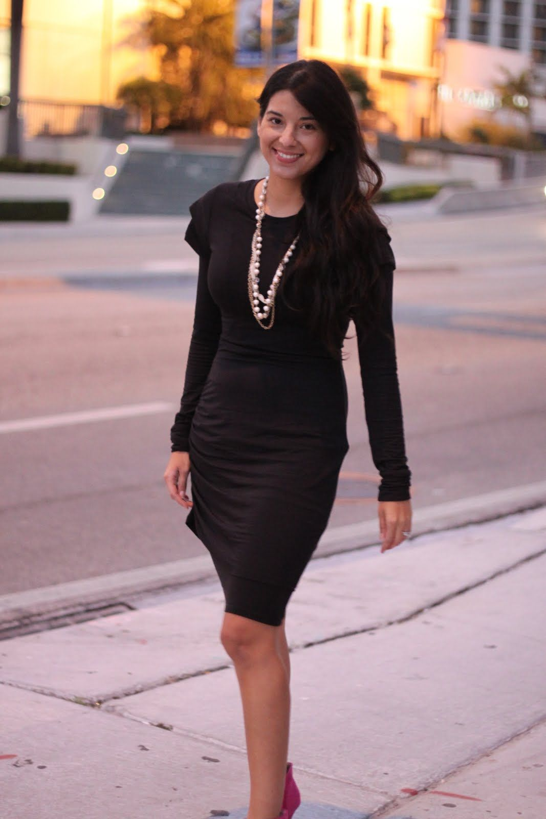Black long dress with gold shoes u Dress and bottoms Long