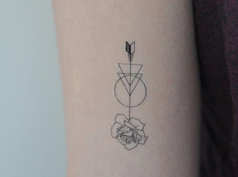 Rose Arrow Temporary Tattoo - Temporary Tattoos + More ...