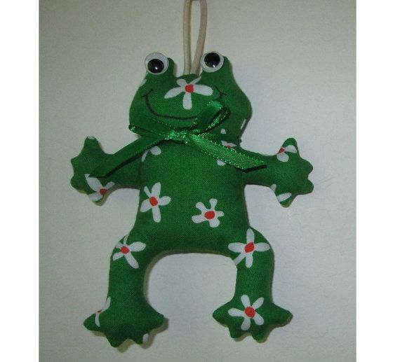 Fabric Frog keychain, ceiling fan pull, backpack accessory, Christmas tree ornament, on Etsy, $8.99