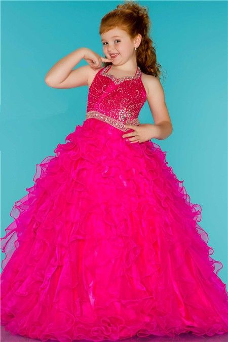 Ball Gown Halter Hot Pink Ruffle Beaded Cute Little Flower Girl Prom ...