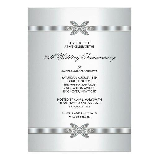 Silver Diamonds 25th Anniversary Party Invitation