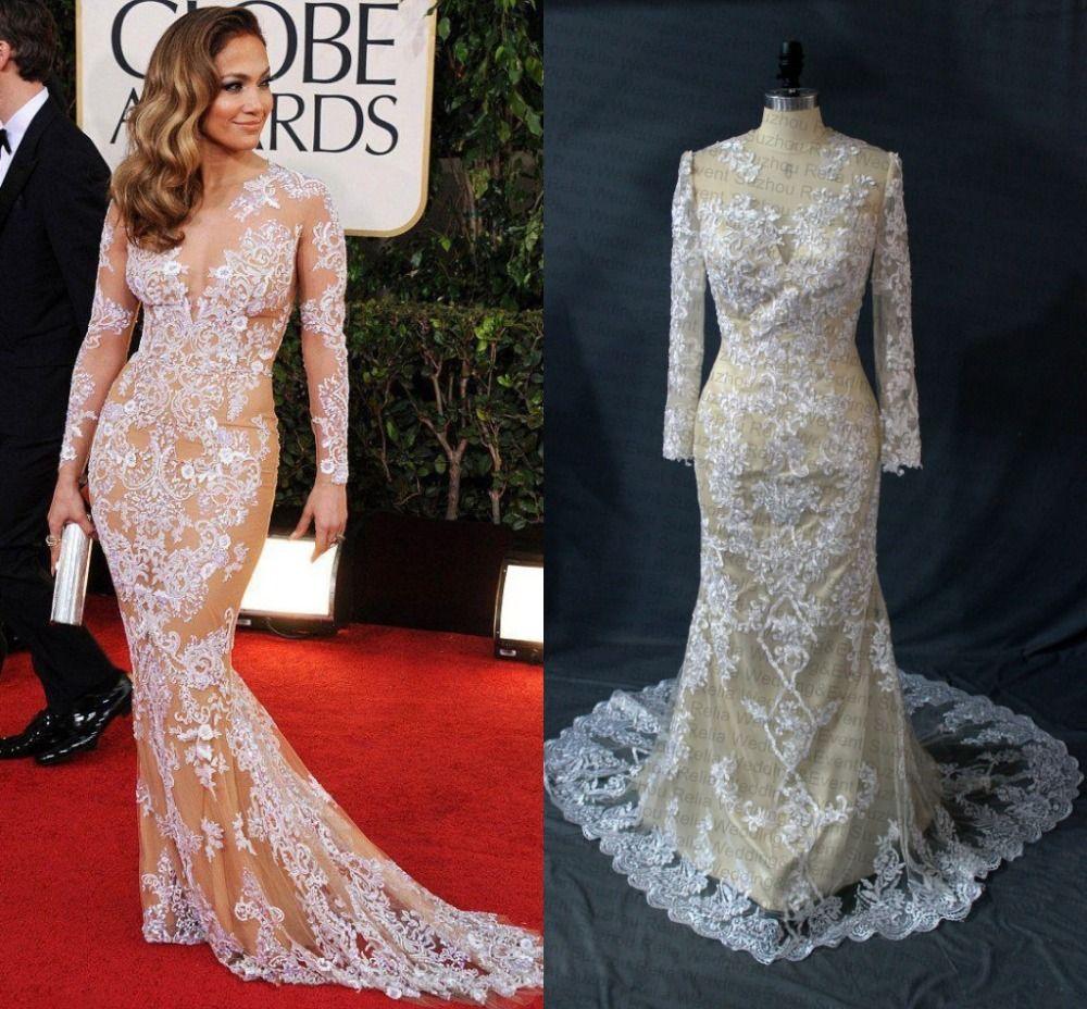 Hot Sale 2015 Celebrity Dresses Jennifer Lopez Dresses Mermaid ...