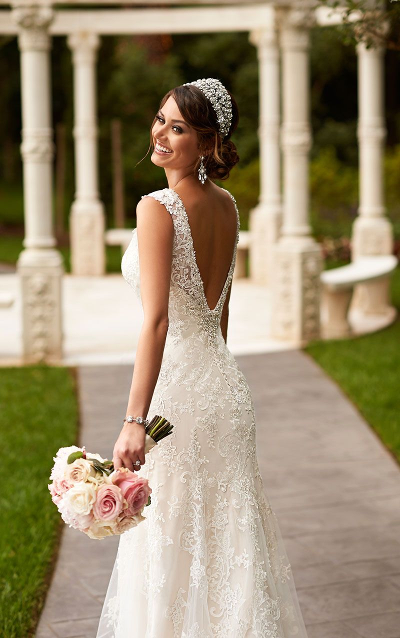 Open Back Sleeveless Lace Floor Length Romantic Fit and Flare ...