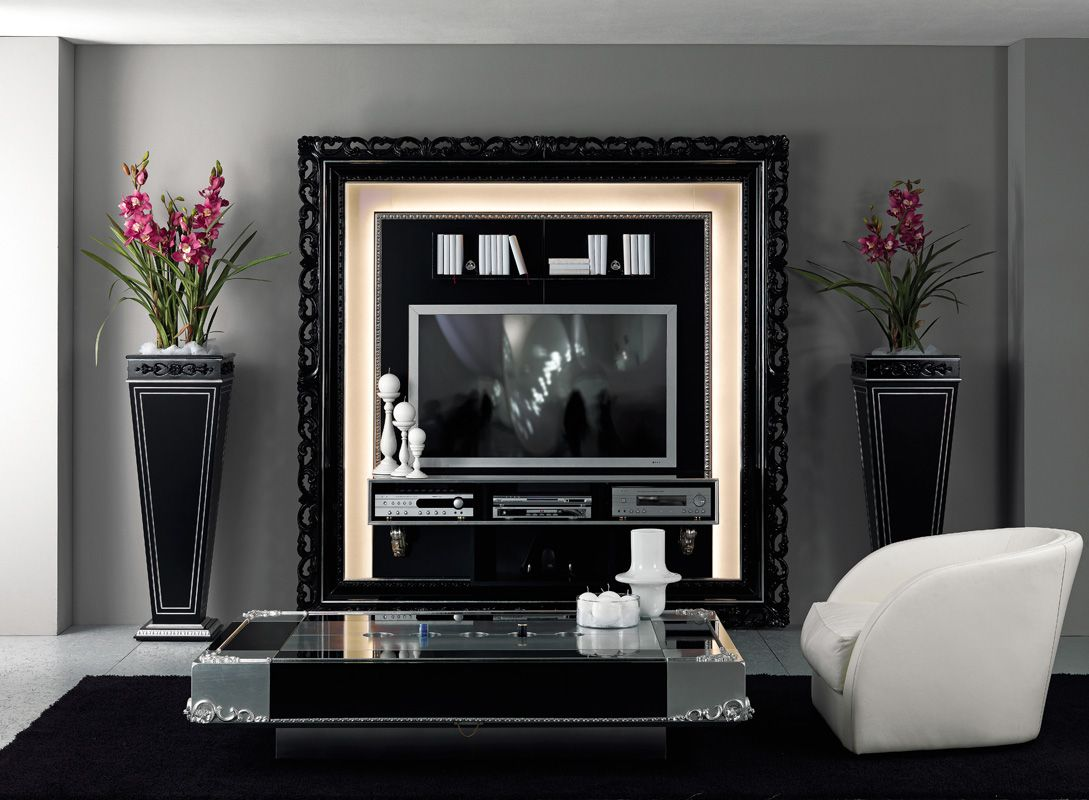 tv wall unit, frame mirror, vases and coffee table in luxury art ...