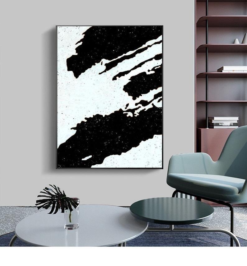 Original Art Black And White Abstract Painting Canvas Home Decor Wall Art Minimalist Art Modern Office Decor Painted By Alexsandr Speshilov Minimalist Wall Art Modern Office Decor Wall Art Decor