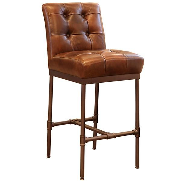 Union Button Back Leather Bar Stool Furniture Craving