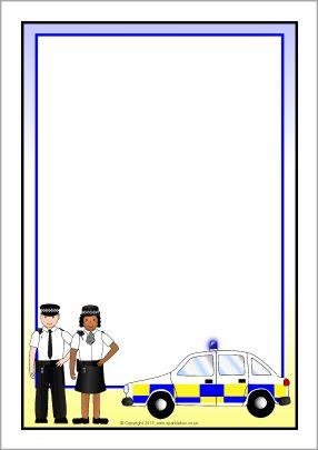 Police A4 Page Borders Sb9818 Sparklebox Př 225 N 237 čka A
