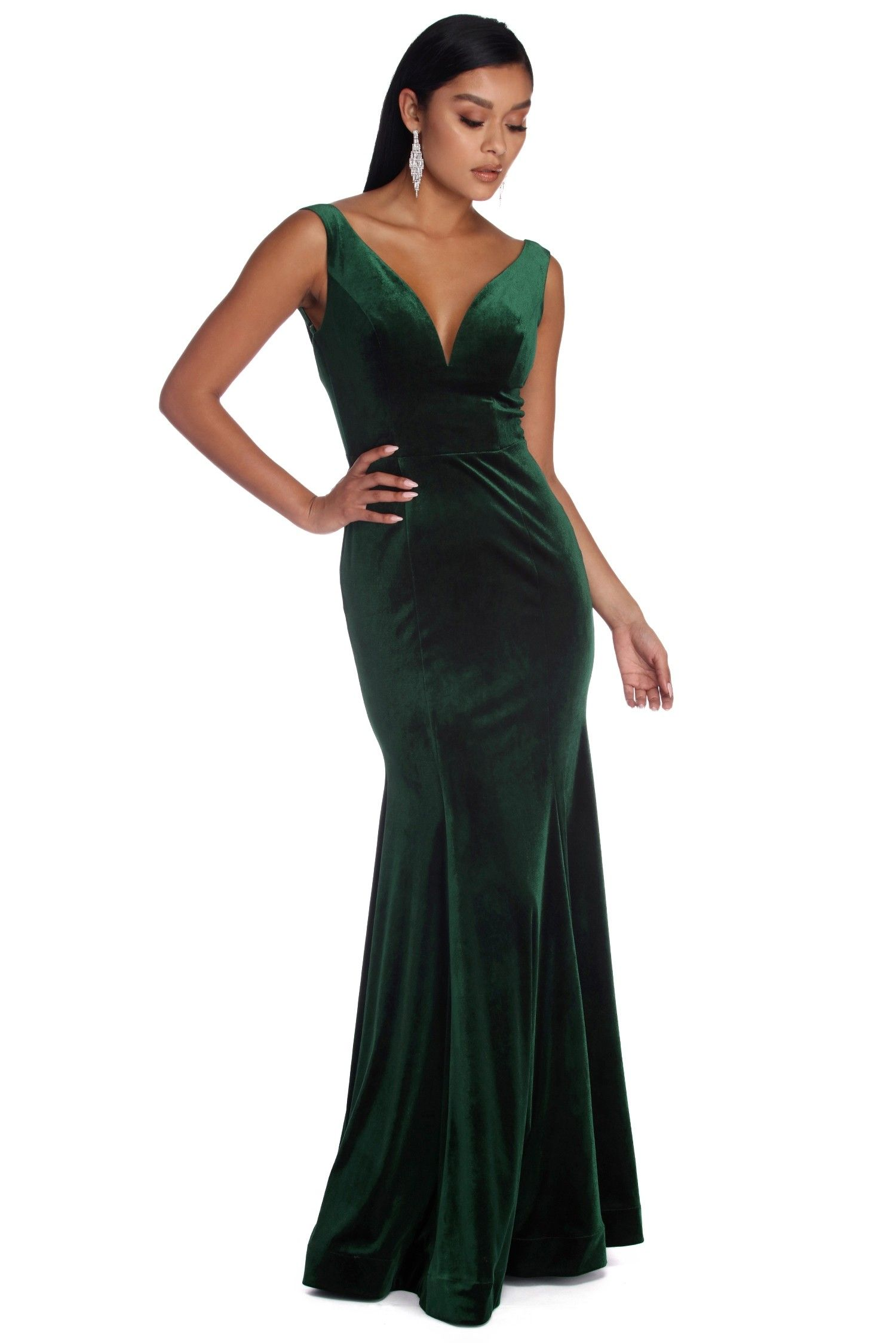 CLEARANCE Delilah Plunging Formal Velvet Dress Wedding