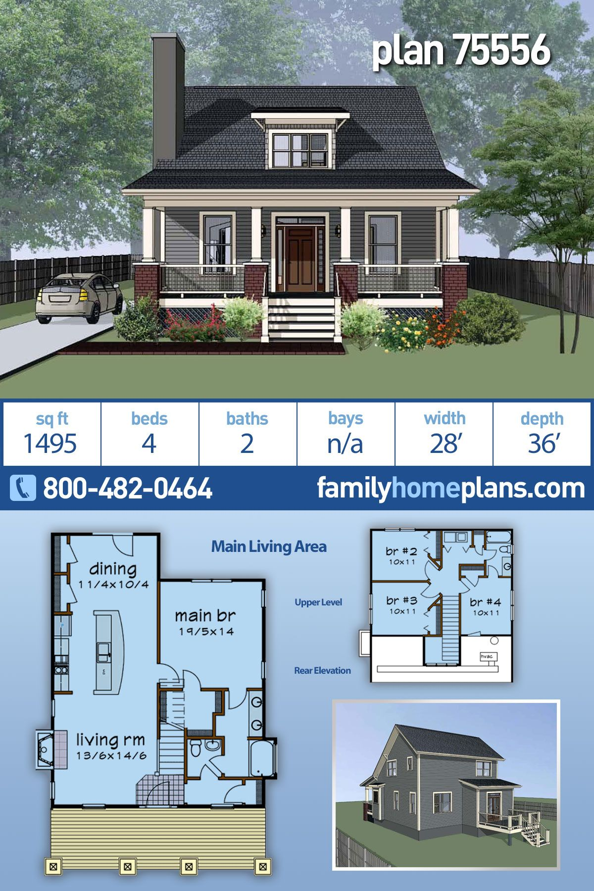 Cottage Style House Plan 75556 With 4 Bed 2 Bath Cottage Style House Plans Cottage Style Homes Craftsman House Plans