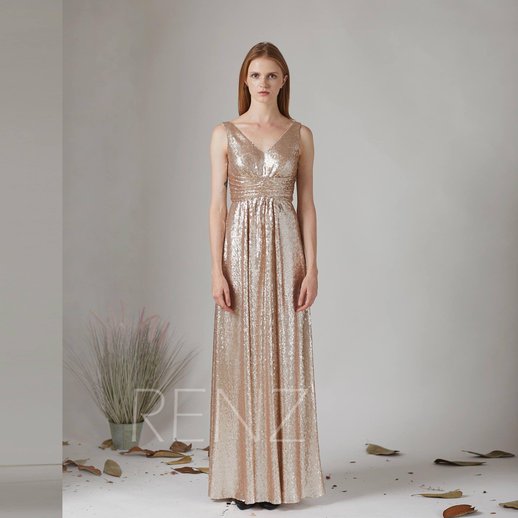 Party Dress Tan Sequin Prom Dress Ruched V Neck Gold Bridesmaid Dress V Back Evening Dress Sleeveless A Line Dresses Sequin Prom Dress Evening Dress Sleeveless [ 2000 x 2000 Pixel ]