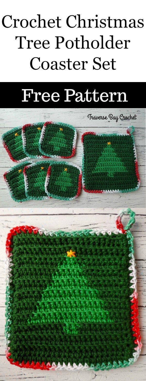 Crochet Christmas Tree Hotpad Coaster Set Traversebaycrochet Com Christmas Crochet Crochet Christmas Trees Christmas Crochet Patterns