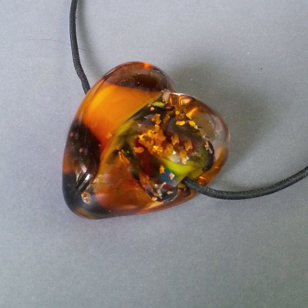 LAMPWORK HEART, Lampwork Glass Heart, Trina Rindy, Bead by