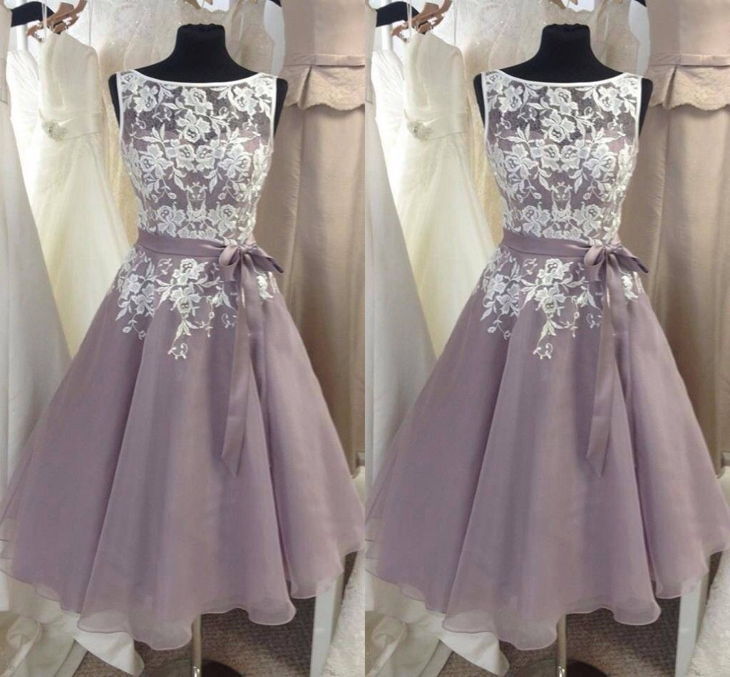 Knee length vintage wedding dresses  Plus Size Vintage Lace Formal Bridesmaid Dresses Knee Length Prom