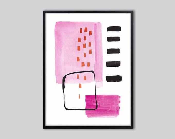 Large abstract art print, Pink black wall art, pink abstract wall ...