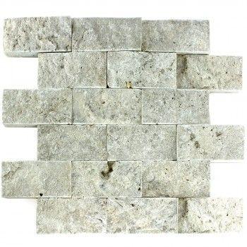 travertin 3d mosaik fliese silver brick - Schwarzweimosaikfliese Backsplash