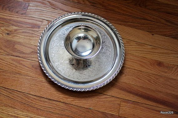 Early 20th Century Attatched Serving Bowl and Plate by Roost225, $36.00