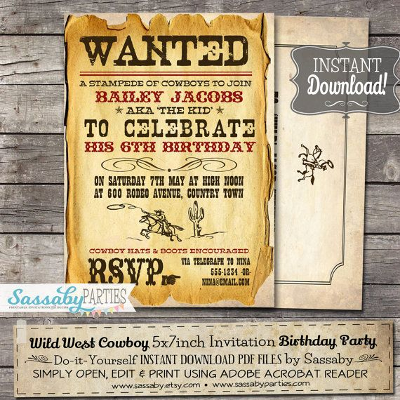 Wild West Cowboy Boys Party Invitation
