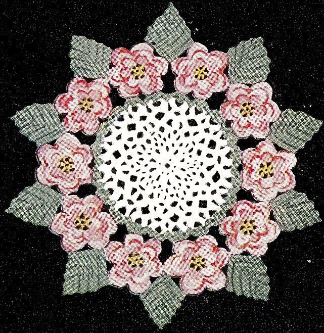 Vintage Crochet Pattern To Make Irish Rose Flower Leaf Doily Mat