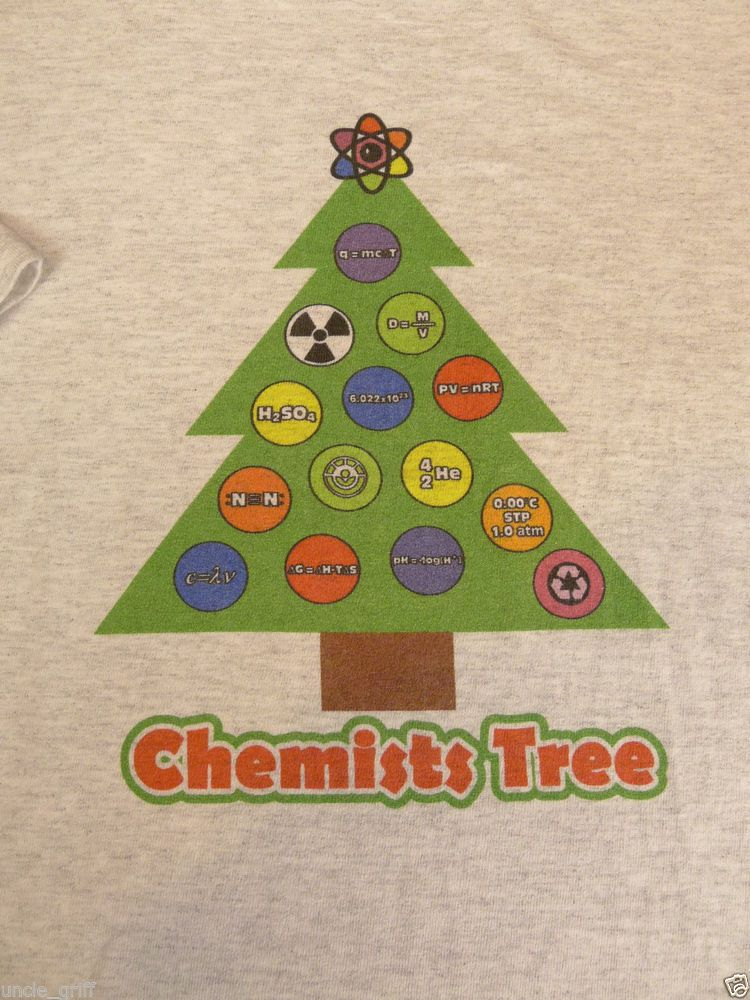 Hanes Tagless Christmas Humor Graphic T Shirt Chemists Tree Size XL - best of periodic table joke au