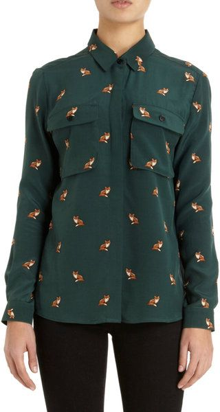 24b0142fd89 Sea Fox Print Shirt in Green - Lyst