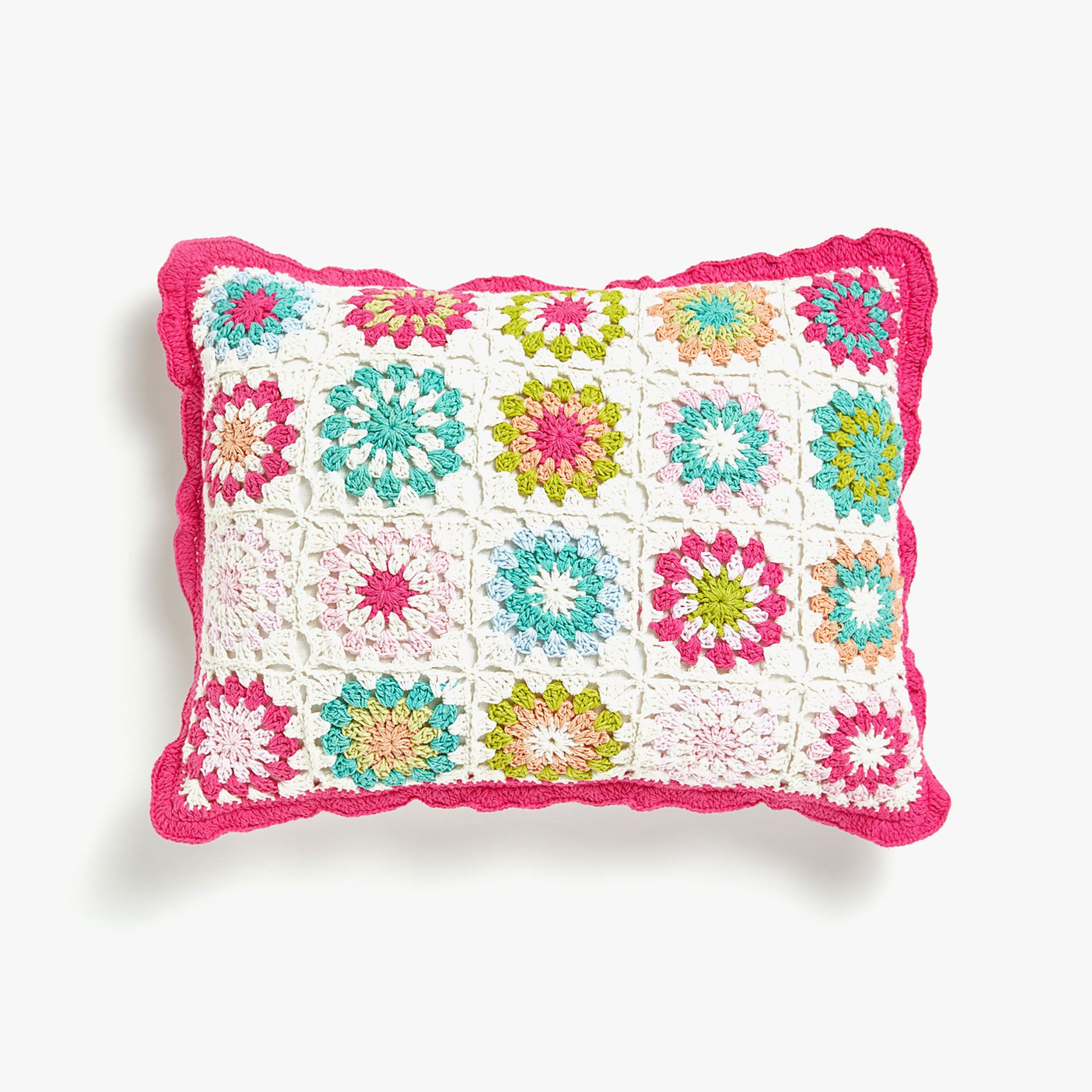 Image 1 Of The Product Multicoloured Floral Crochet Cushion Cover