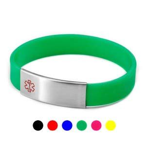 Medical Bracelet Stainless Engravable Color Silicone Tag Diabetes