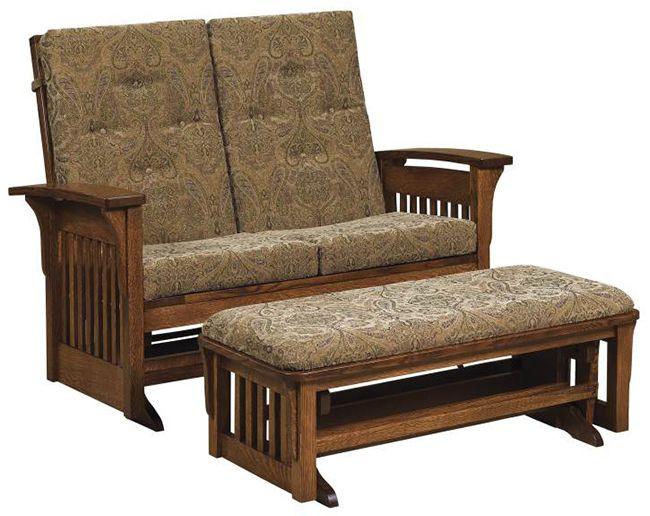 Bow Arm Loveseat Glider   Stuart David Furniture