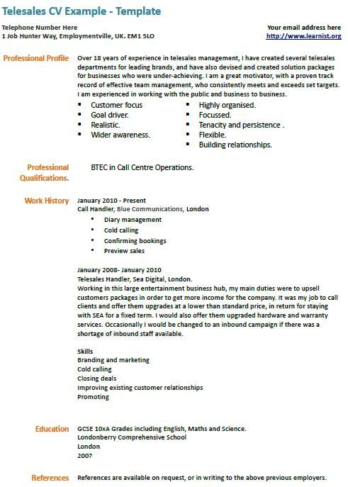 Resume Profile Examples Telesales Cv Example  Work  Pinterest  Cv Examples And Management
