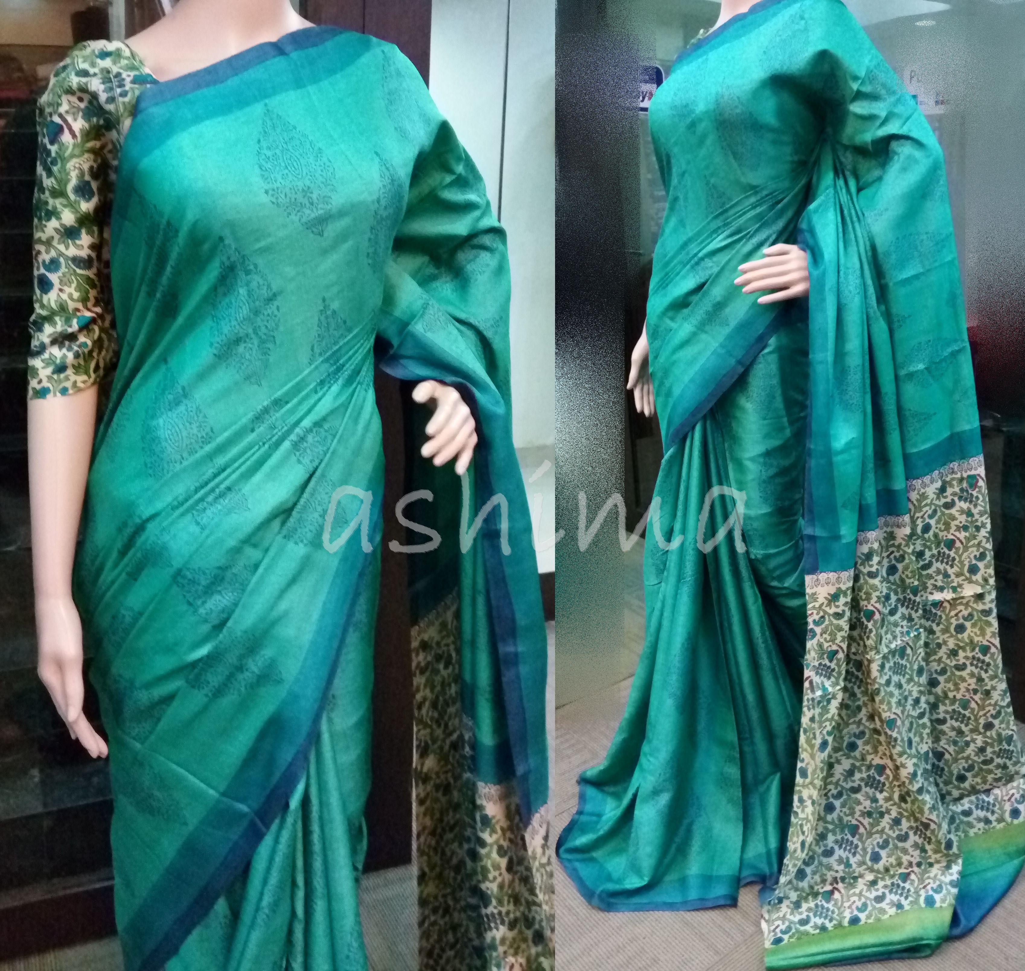 067a78085da7d Code 2206164 - Printed Tussar silk Saree
