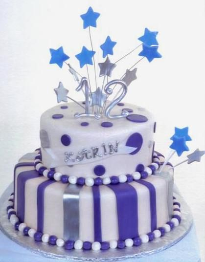 Admirable 1282 Starry Stripes With Images Fondant Cakes Birthday Funny Birthday Cards Online Aboleapandamsfinfo