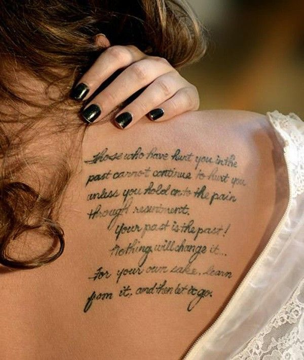 57 Awesome Quotes Shoulder Tattoos: Fantastic Shoulder Blade Life Tattoo Quotes For Girls