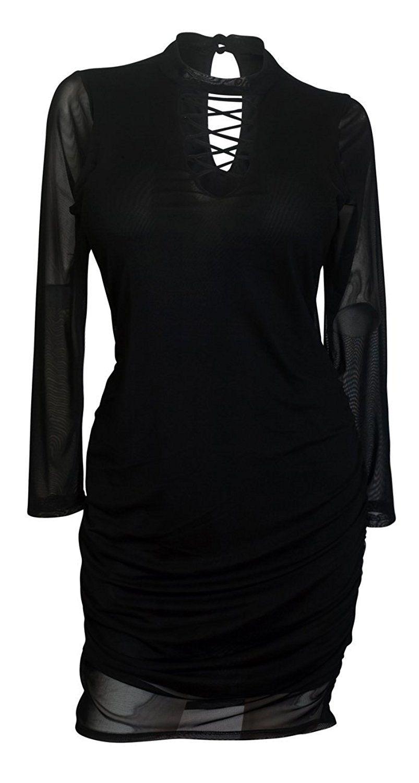 Amazon evogues plus size lace up long sleeve mesh dress black