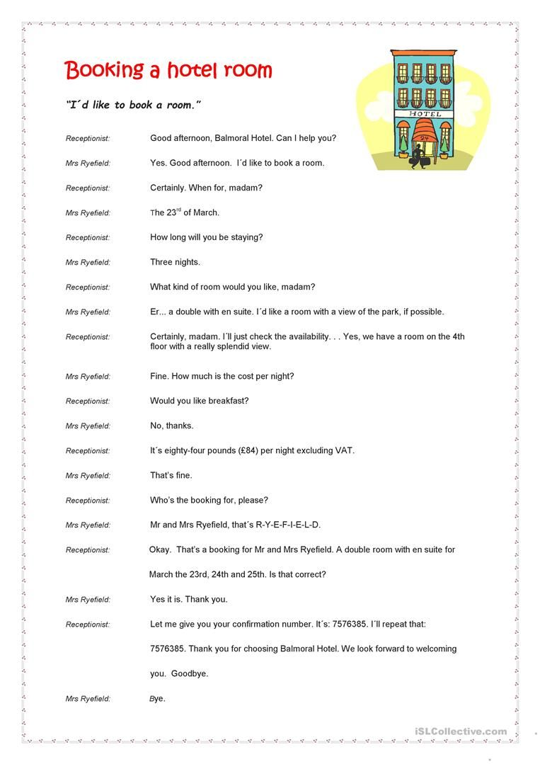 Booking A Hotel Room Worksheet Free Esl Printable Worksheets Made By Teachers English Travel Vocabulary Book A Hotel Room Booking Hotel