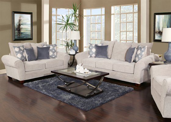 This 5 piece living room package consists of a sofa loveseat