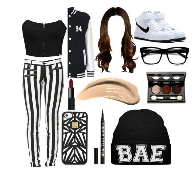 """Random"" by harrystyles13wife ❤ liked on Polyvore featuring Element, ZeroUV, Hervé Léger, NIKE, Maybelline, H&M and Vincent Longo"