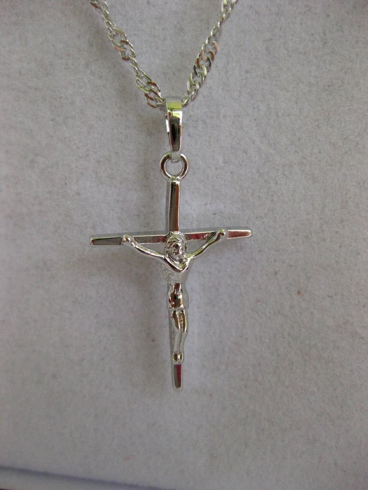 Stainless Steel 14k Gold Accent Crucifix Pendant Necklace Length 22 Width 0