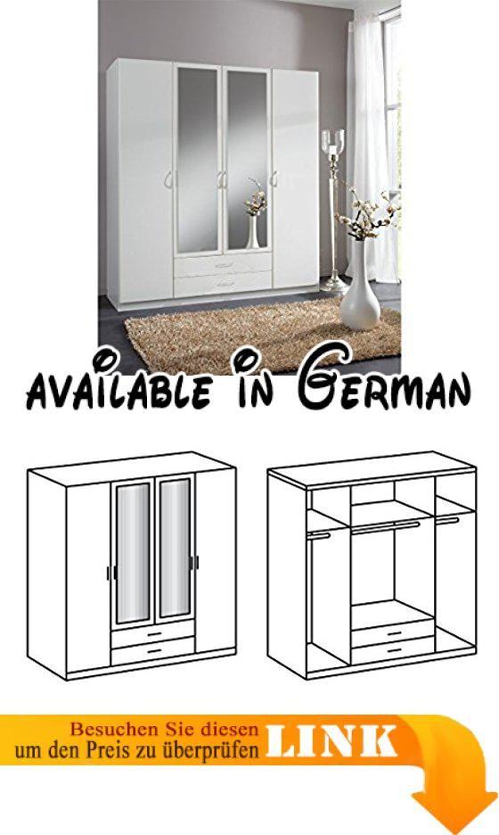 B0171QPDMK  SWING Kleiderschrank mit Spiegel 180 cm (4-türig) weiss - schlafzimmerschrank weiß hochglanz
