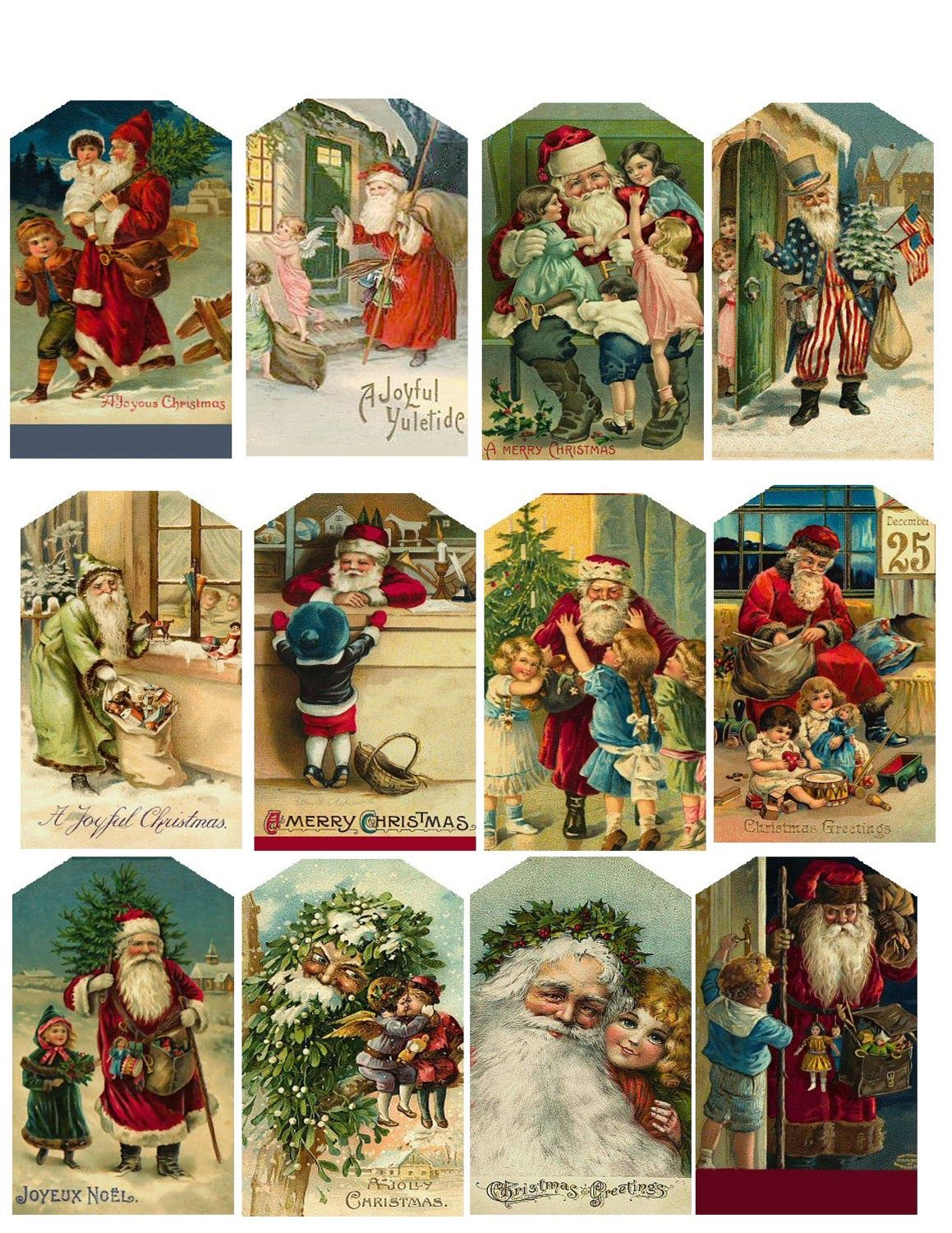 christmas Printable cards vintage