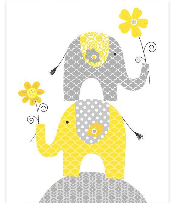 Elephant Nursery, Gray and Yellow, Baby Girl Decor, Baby Wall Art ...