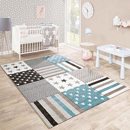Kinderteppich Kinderzimmer Konturenschnitt Stern Muster