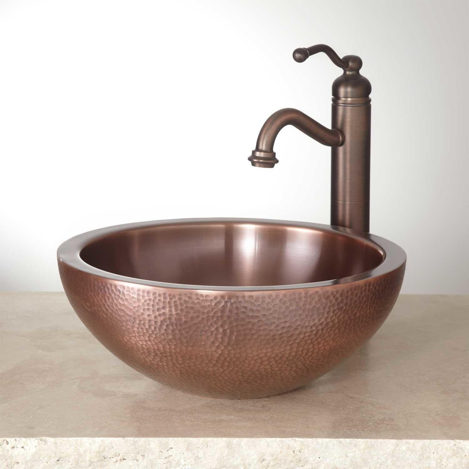14 Casalina Double Wall Hammered Copper Vessel Sink Signature