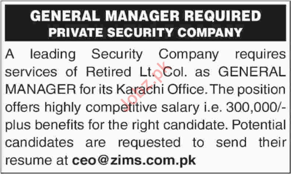 General Manager Jobs in karachi 2019 General manager
