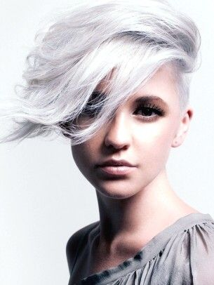 cute girl with white silver short hair scene alternative
