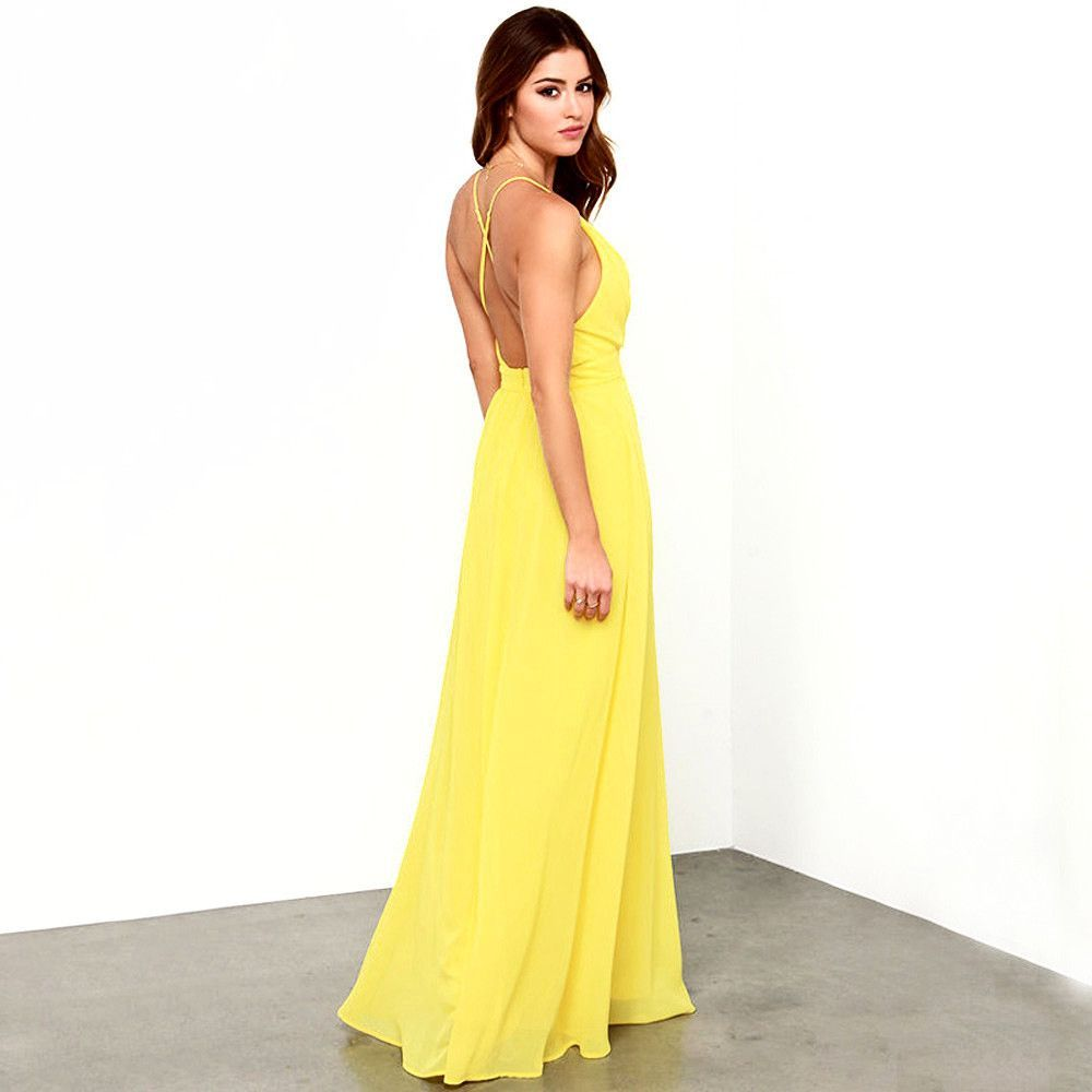 Bright yellow cross backmaxi dress bright yellow and products
