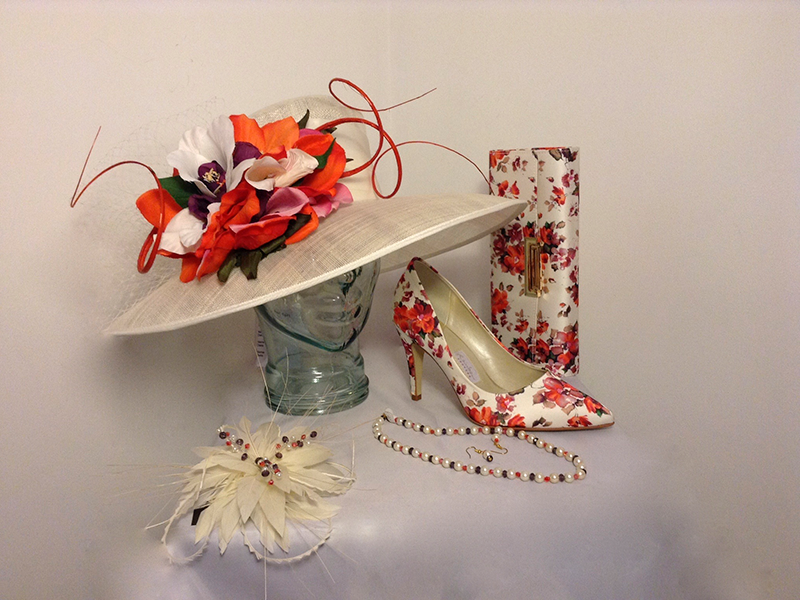 Floral Fascinator Shoes Bag And Jewellery Set Floral Fascinators Floral Floral Hat