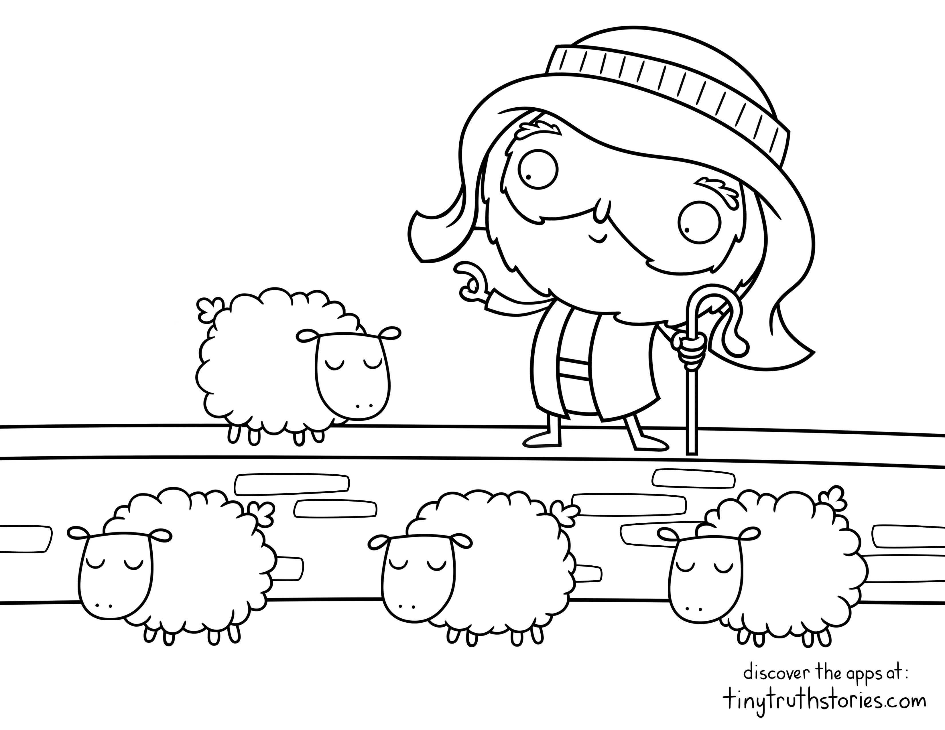 Colouring page: The good shepherd counts his sheep every night ...